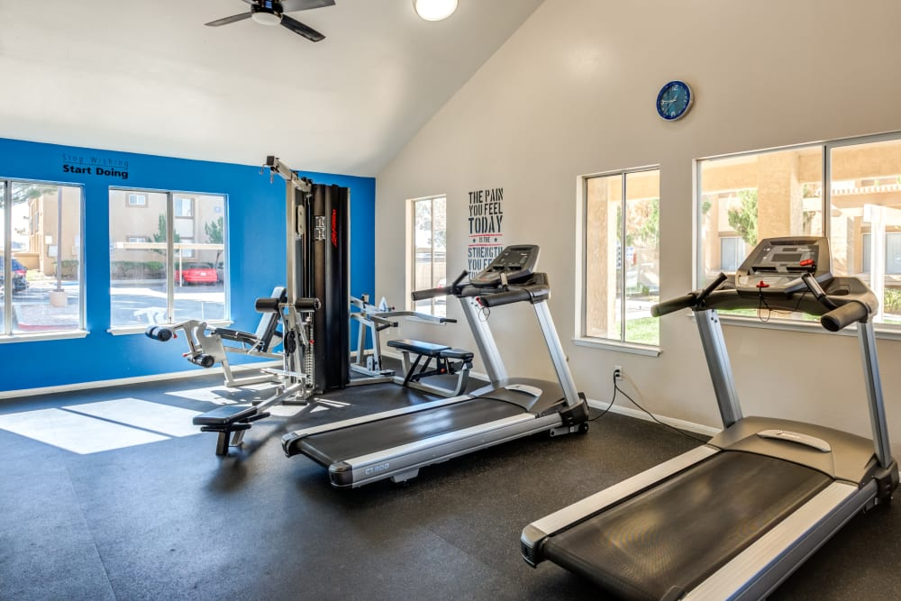 Fitness center at Granada Villas Apartment Homes in Lancaster, California