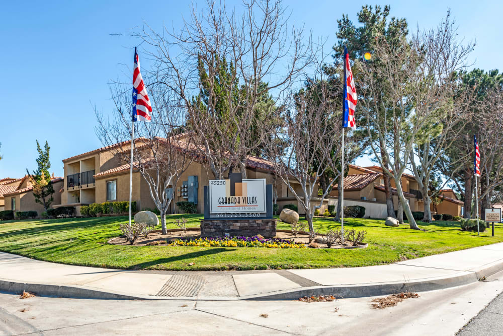 Entrance at Granada Villas Apartment Homes in Lancaster, California