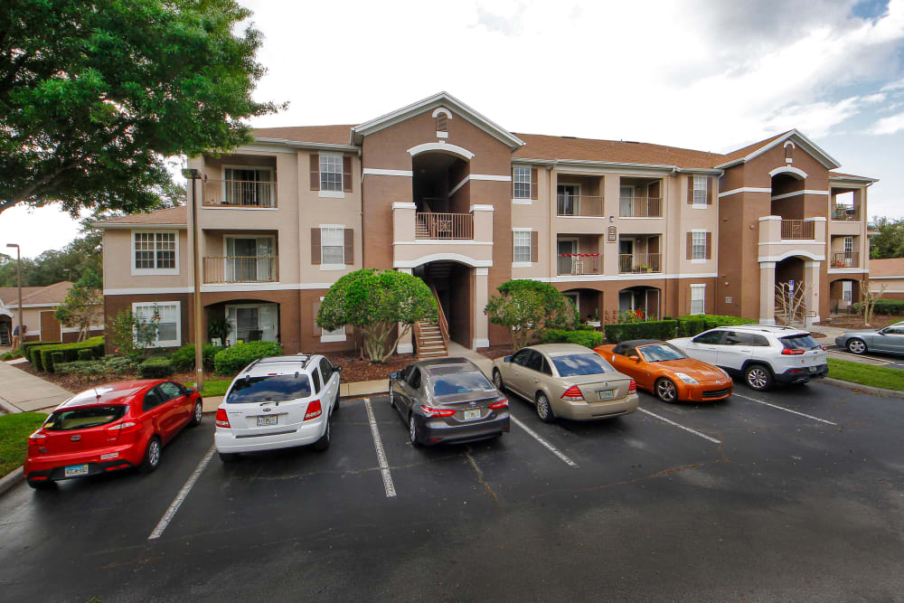 Aerial view of the parking area at Legends Winter Springs in Winter Springs, Florida