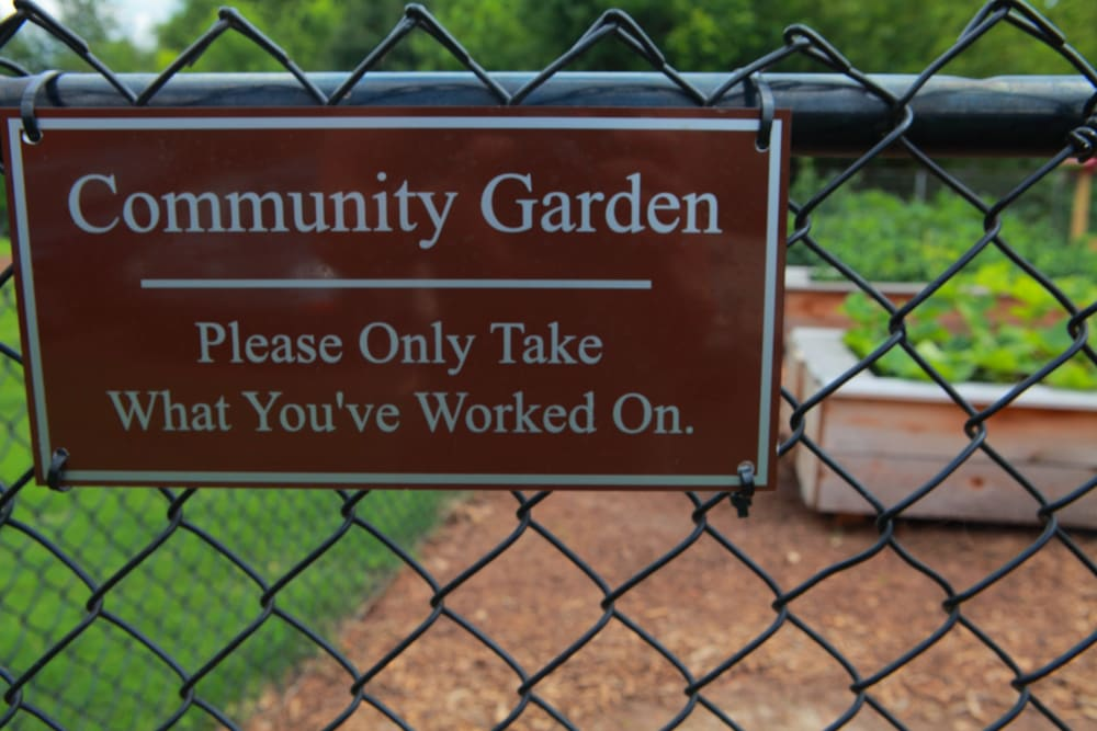 Community garden sign at The Lofts Of Greenville in Greenville, South Carolina