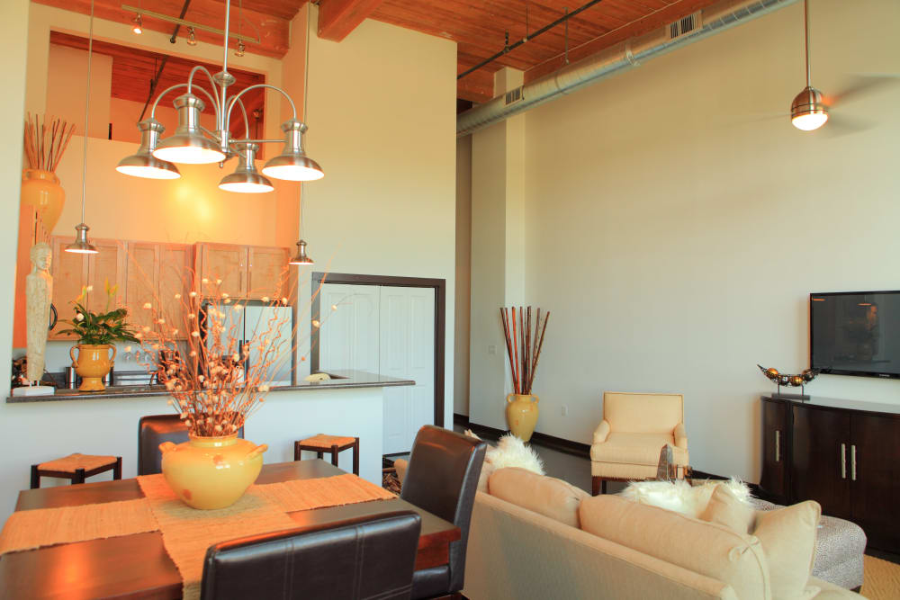 DIning table view at The Lofts Of Greenville in Greenville, South Carolina