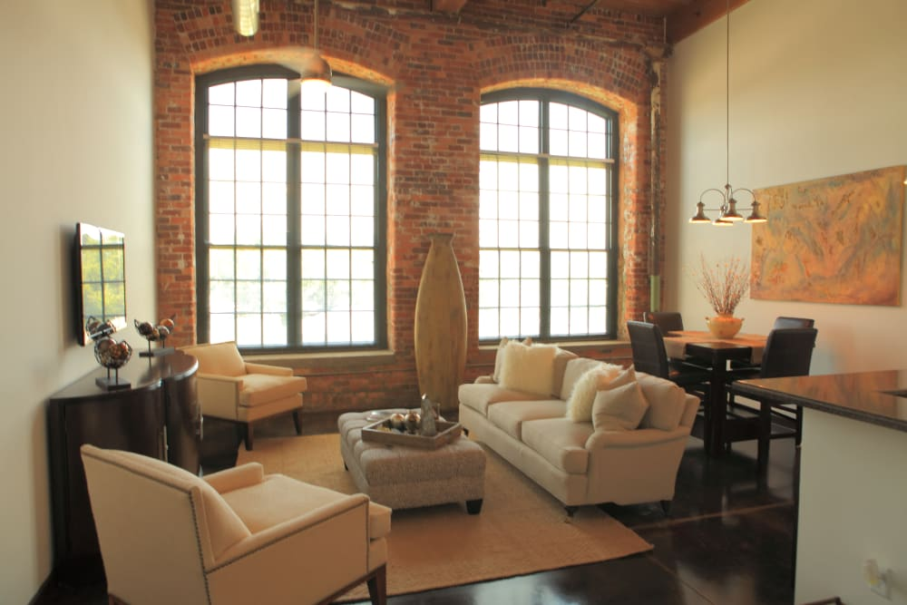 Living room example at The Lofts Of Greenville in Greenville, South Carolina