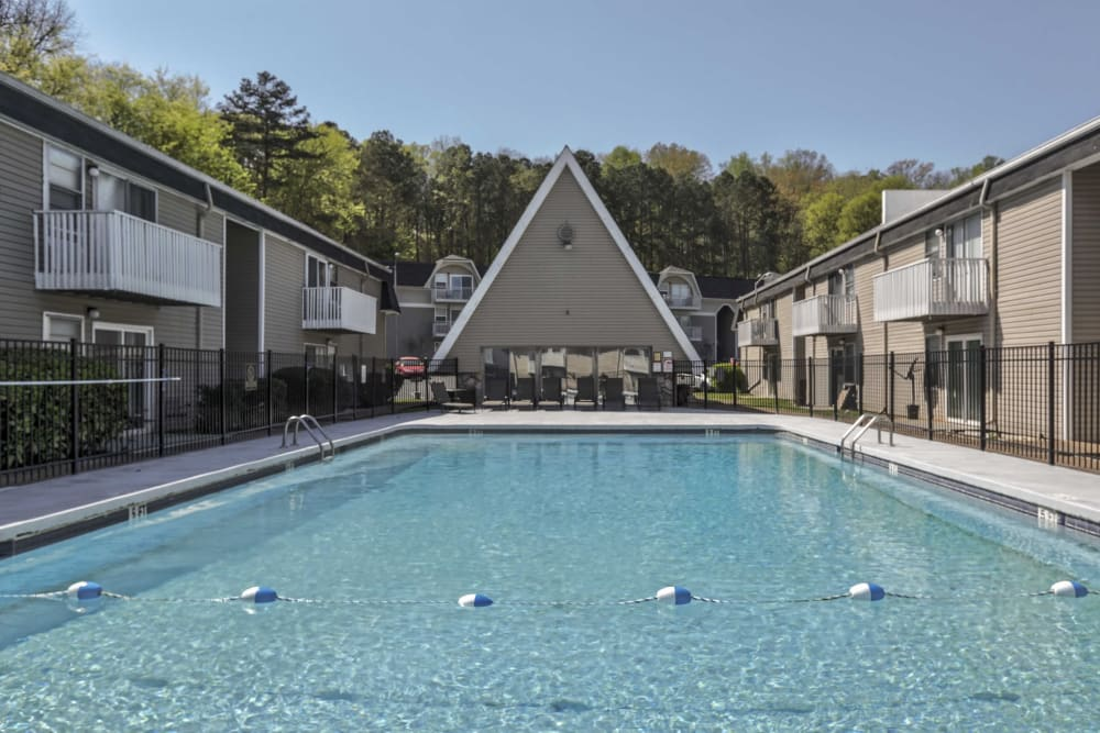 A large swimming pool at Vivid Lofts in Chattanooga, Tennessee.
