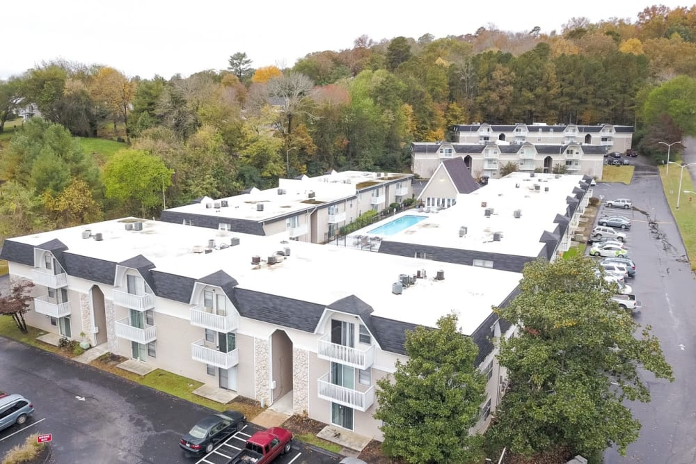 Aerial photo of Vivid Lofts in Chattanooga, Tennessee.