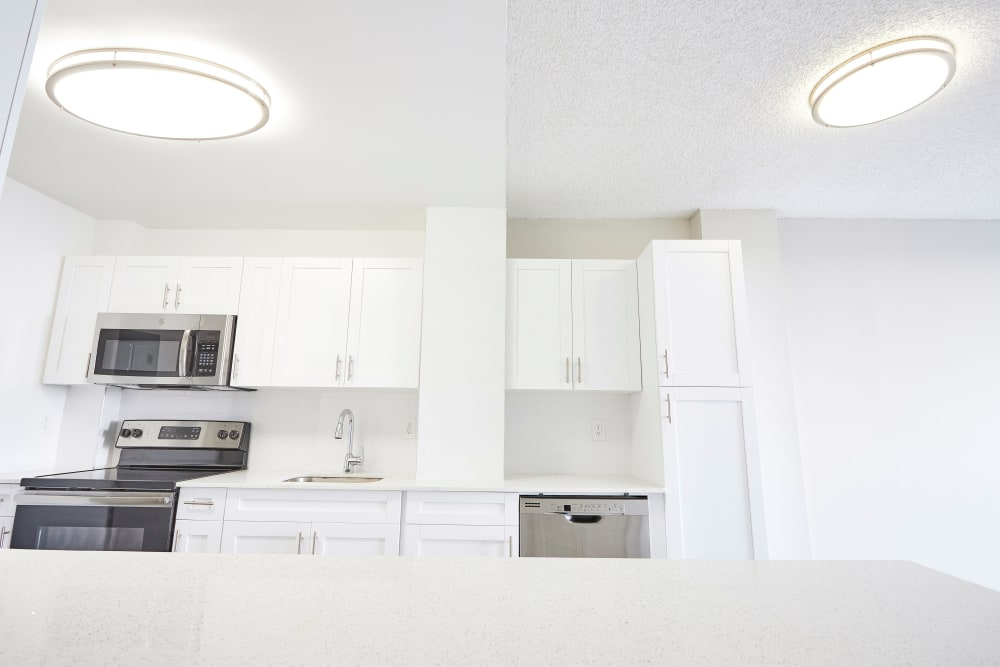 White appliances and hardwood floors in model home's kitchen at Aliro in North Miami, Florida