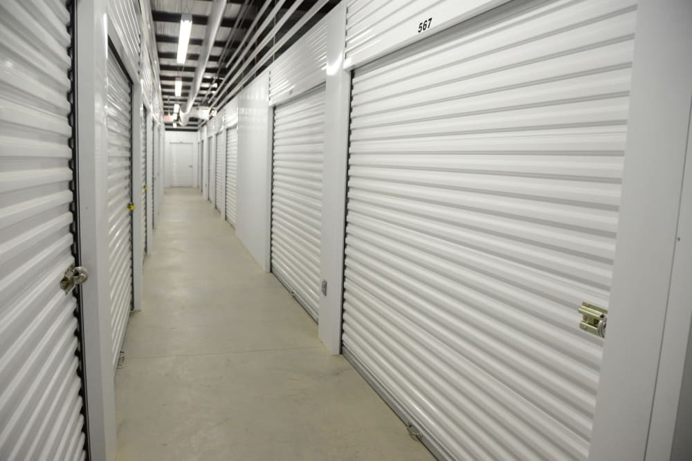 Clean, well-lit indoor storage units at Lock Box Self Storage in Mt Juliet, Tennessee