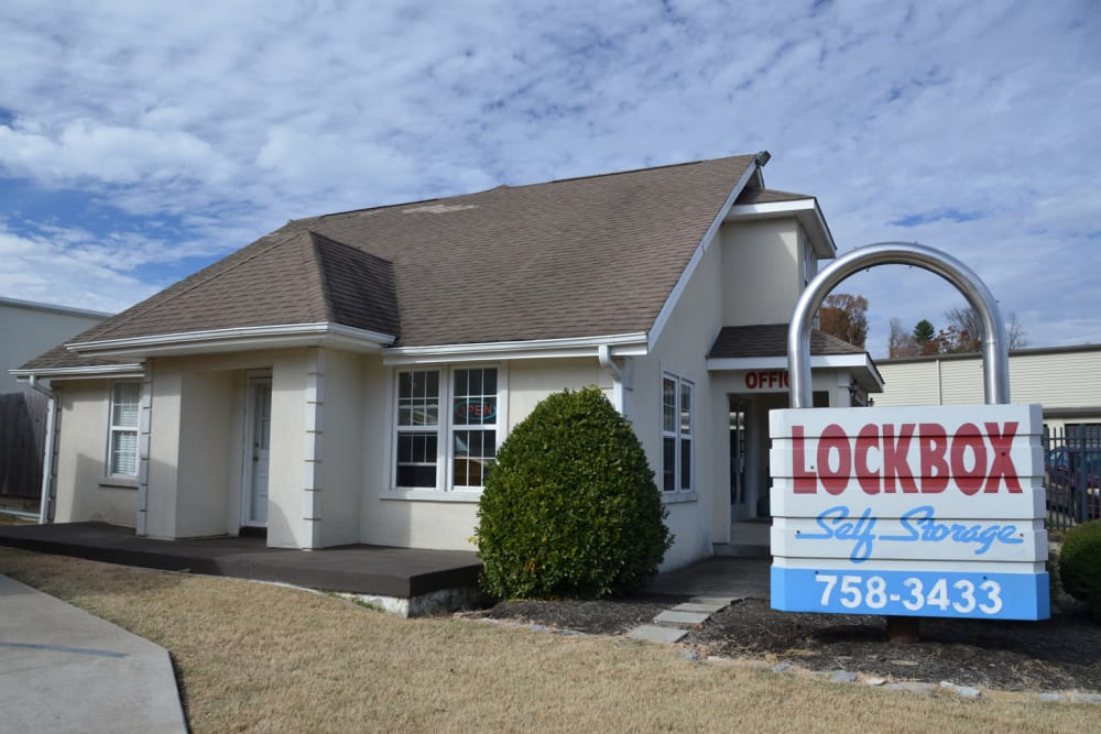 Front office and sign at Lock Box Self Storage in Mt Juliet, Tennessee