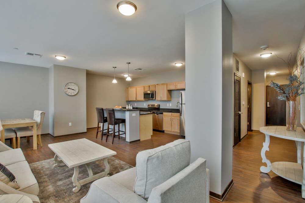 Living room layout at Colorado Derby Lofts in Wichita, Kansas