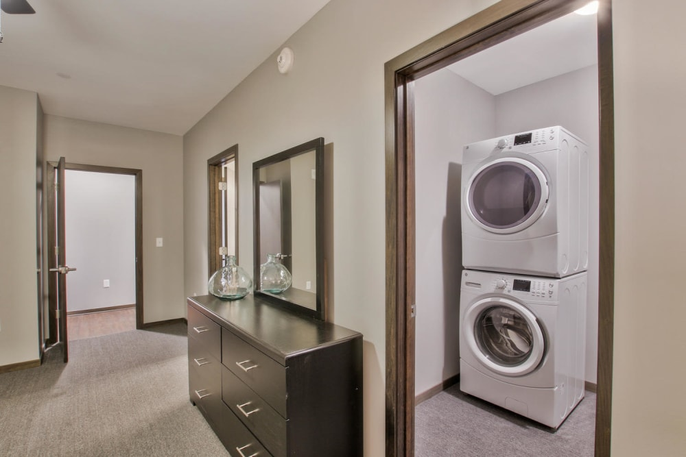 In suite laundry at Colorado Derby Lofts in Wichita, Kansas