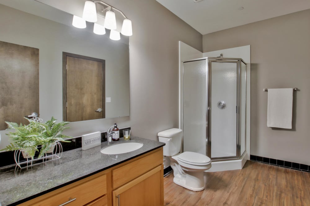 Master bathroom layout at Colorado Derby Lofts in Wichita, Kansas