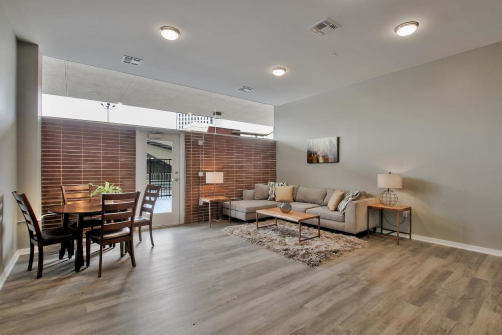 Open living room at Colorado Derby Lofts in Wichita, Kansas