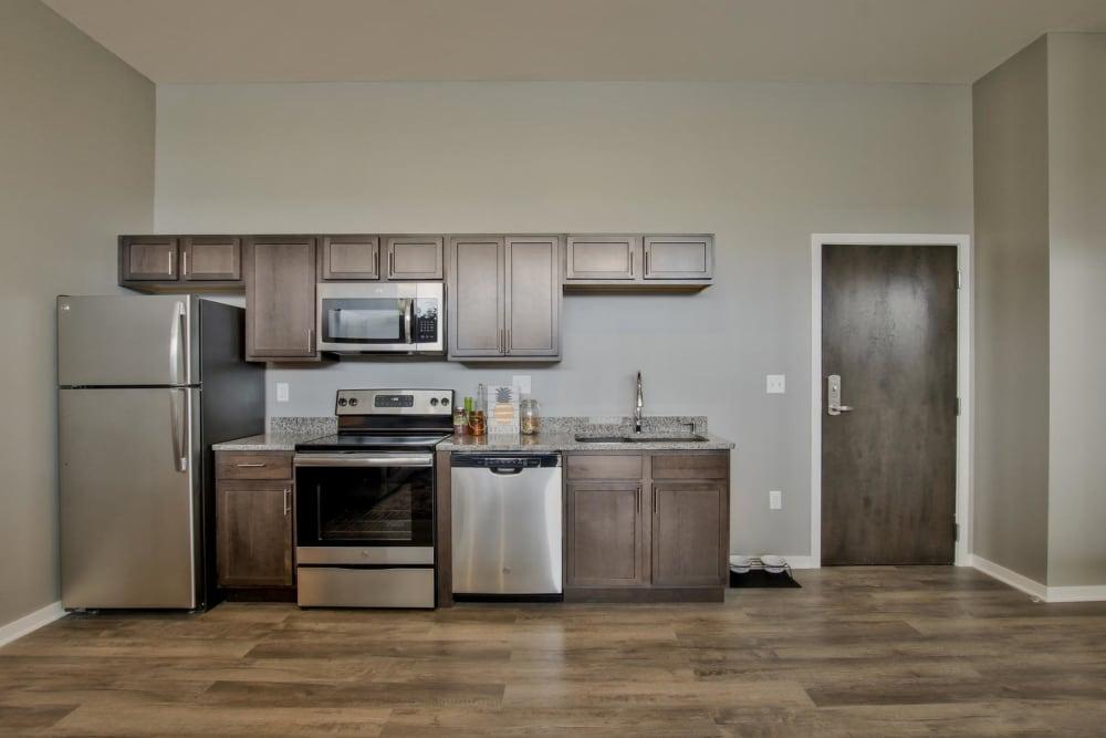 Model kitchen layout at Colorado Derby Lofts in Wichita, Kansas