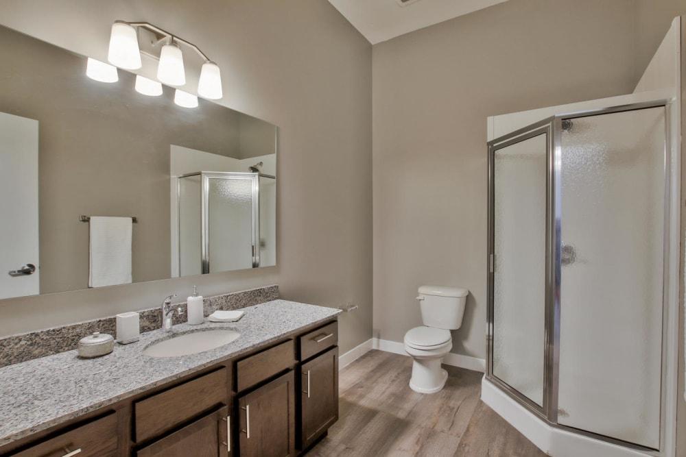 Bathroom model layout at Colorado Derby Lofts in Wichita, Kansas