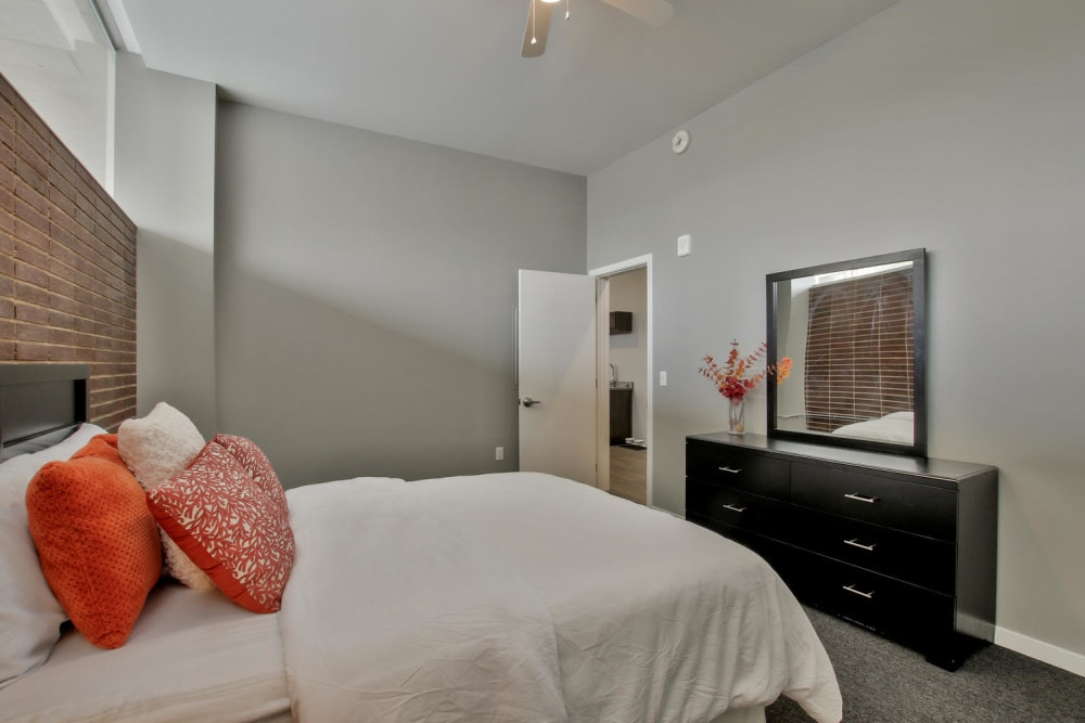 Bedroom model at Colorado Derby Lofts in Wichita, Kansas