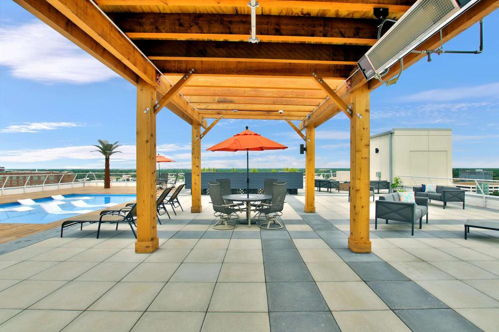 Outdoor patio at Colorado Derby Lofts in Wichita, Kansas