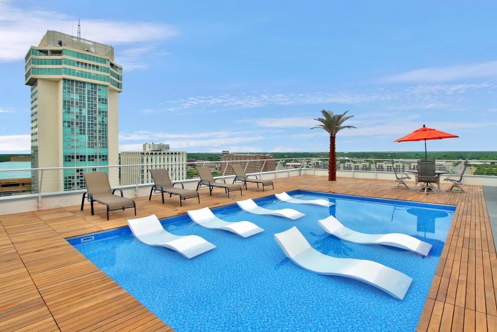 Rooftop pool view at Colorado Derby Lofts in Wichita, Kansas