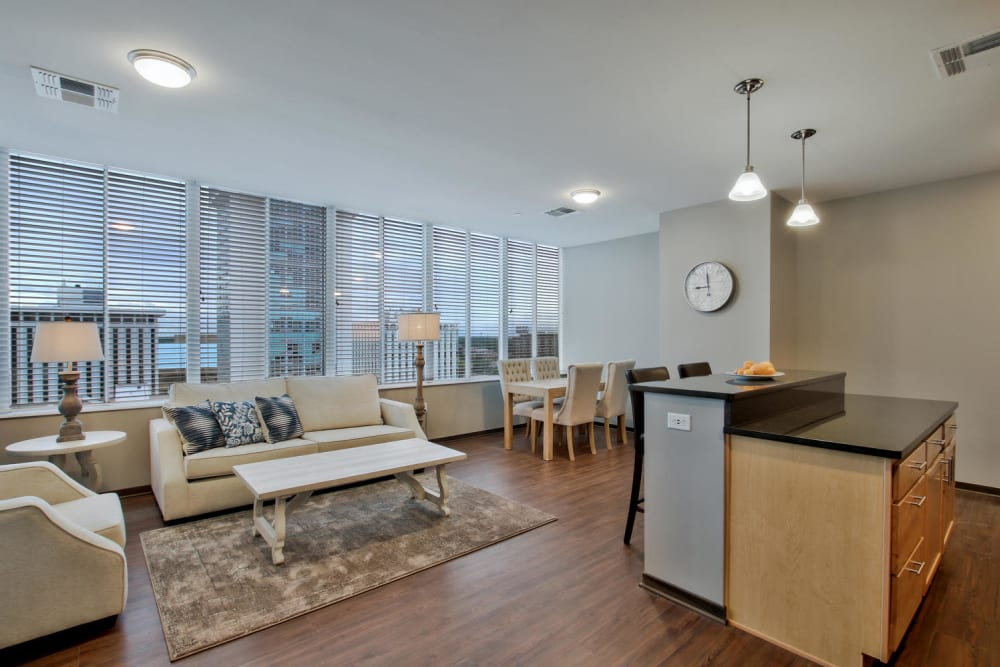 Dining room and kitchen at Colorado Derby Lofts in Wichita, Kansas