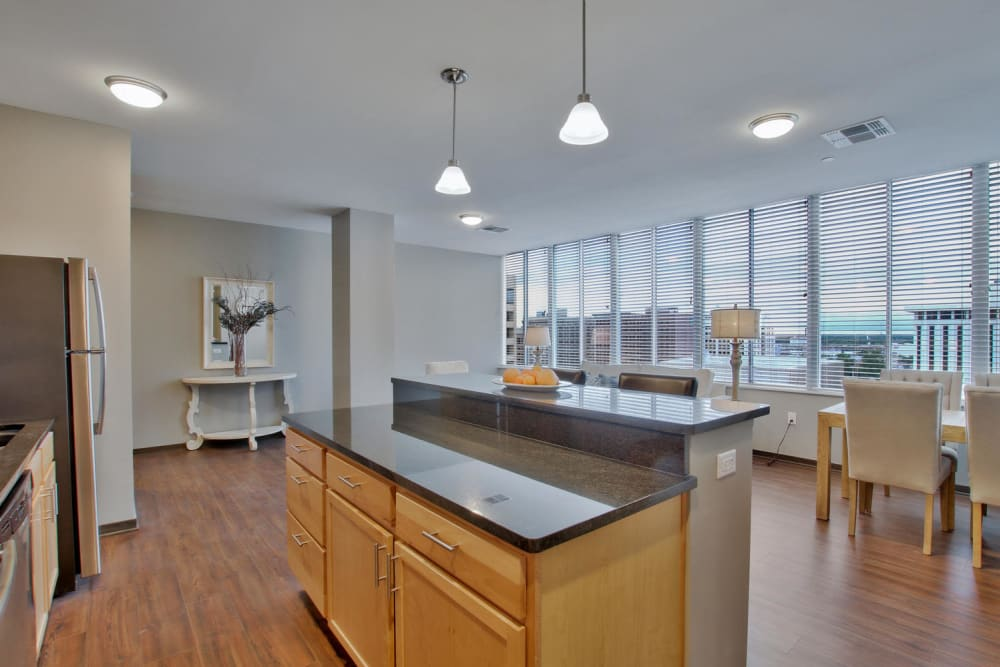 Kitchen and dining room at Colorado Derby Lofts in Wichita, Kansas