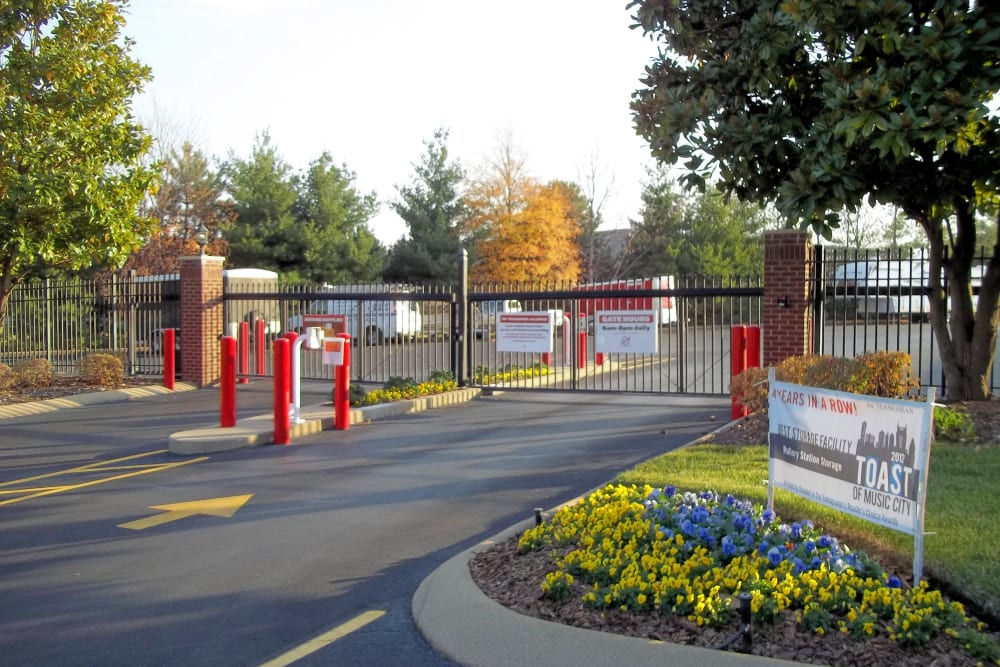Entrance gate at Mallory Station Storage in Franklin, Tennessee