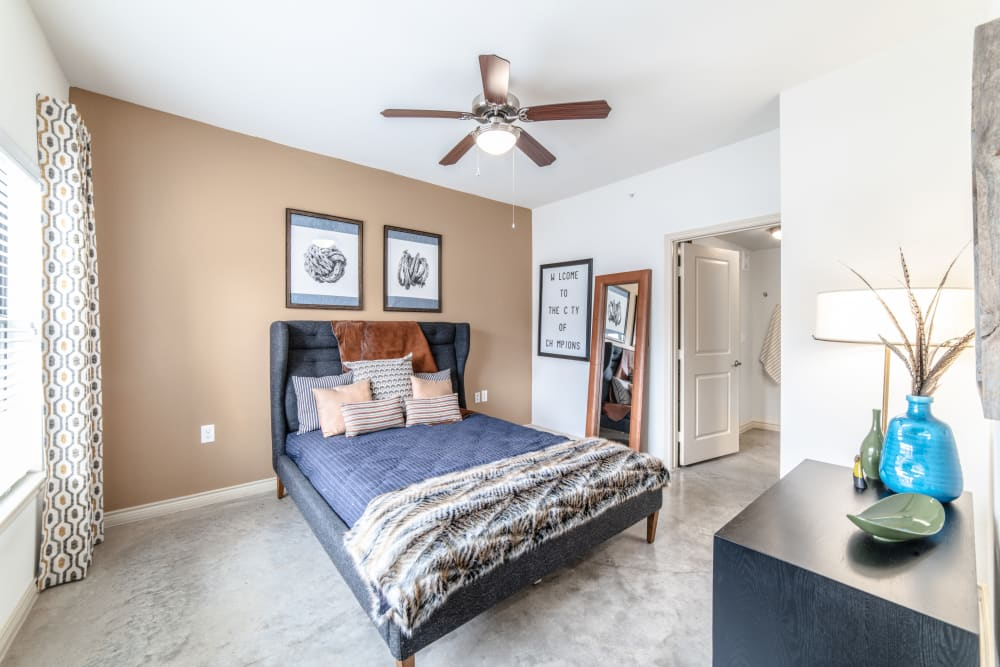 Ceiling fan in master bedroom at Ethos Apartments in Austin, Texas
