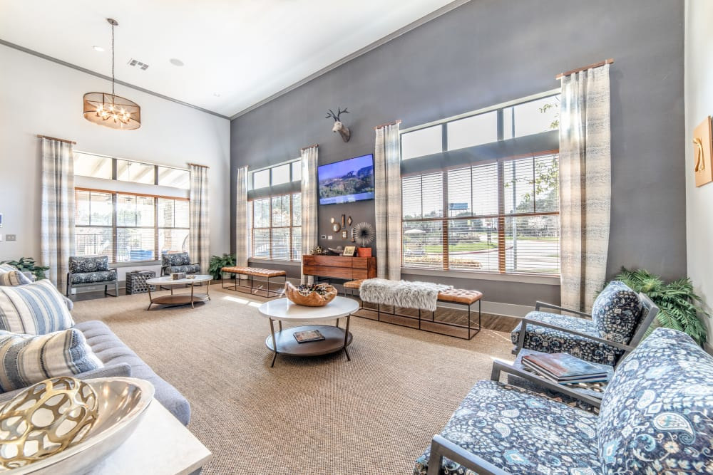 Couches and TV in clubhouse at Ethos Apartments in Austin, Texas