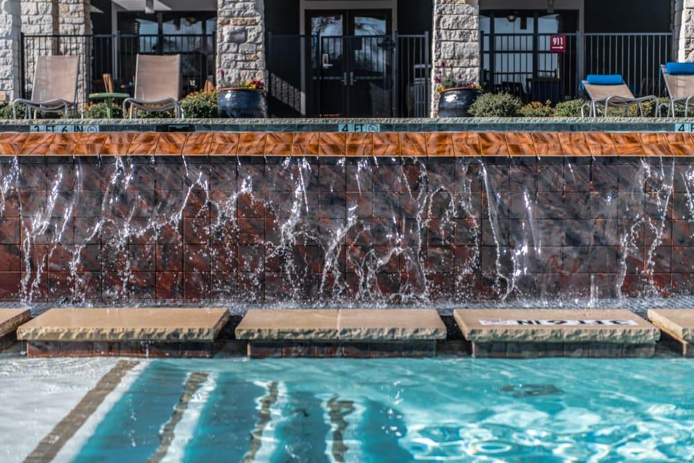 Pool fountains at Ethos Apartments in Austin, Texas