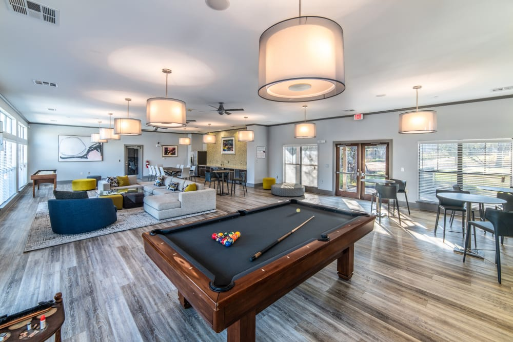 Stylish clubhouse with billiard table in Austin, Texas at Ethos Apartments