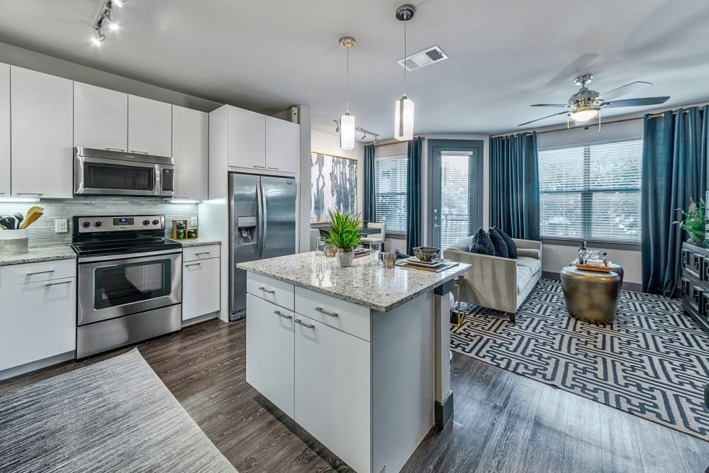 Model kitchen and bar at Axis at Wycliff in Dallas, Texas
