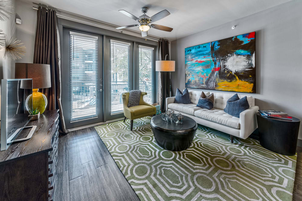 Living room in model home in Dallas, Texas at Axis at Wycliff