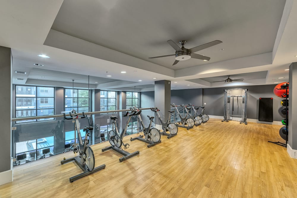 Exercise bikes at Axis at Wycliff in Dallas, Texas