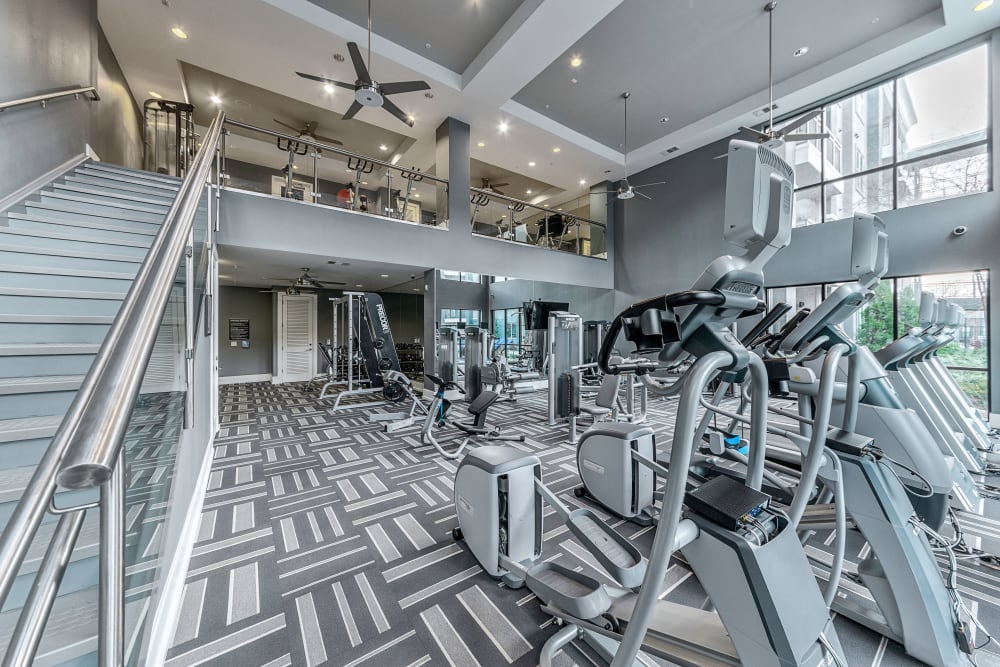 Exercise equipment at Axis at Wycliff in Dallas, Texas