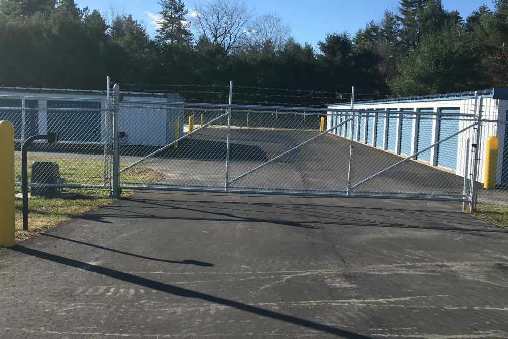 Fully fenced storage units at Safe Storage in East Baldwin, Maine