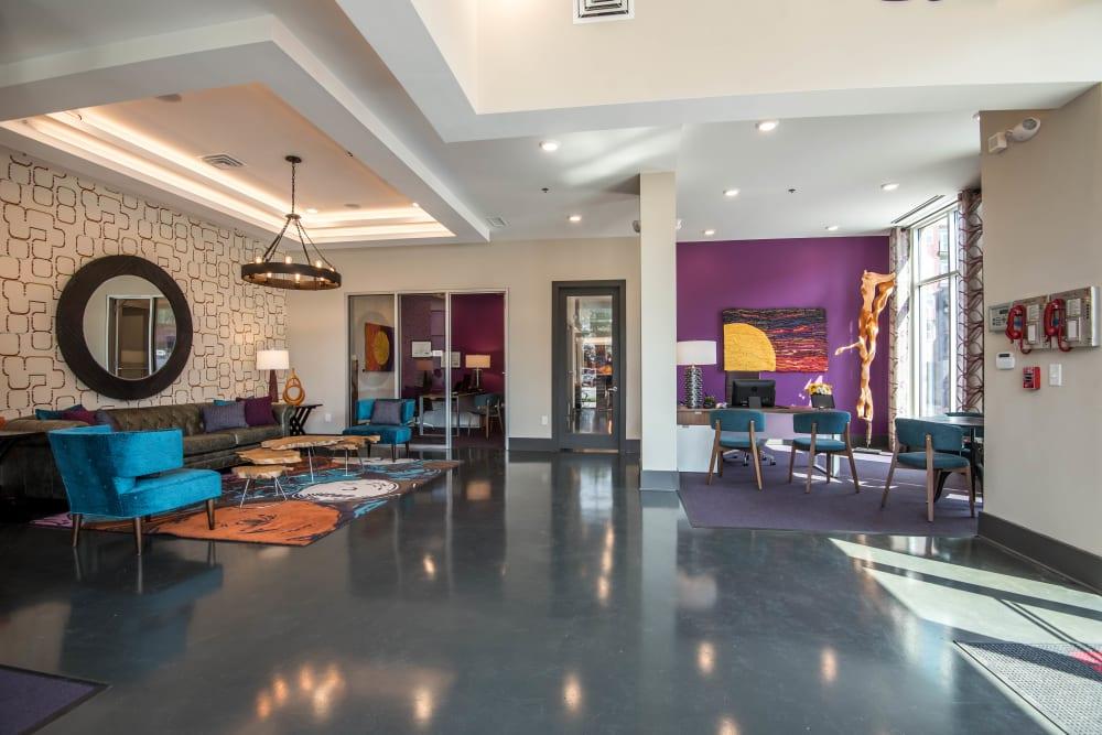 Colorful lobby at Mercury NoDa in Charlotte, North Carolina