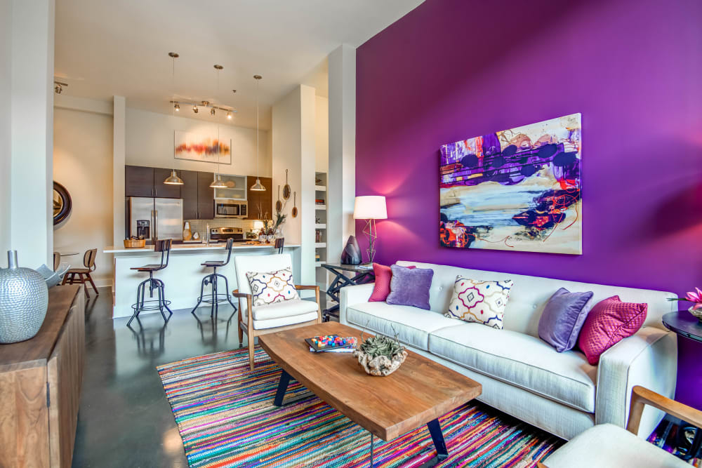 Colorful living room model at Mercury NoDa in Charlotte, North Carolina
