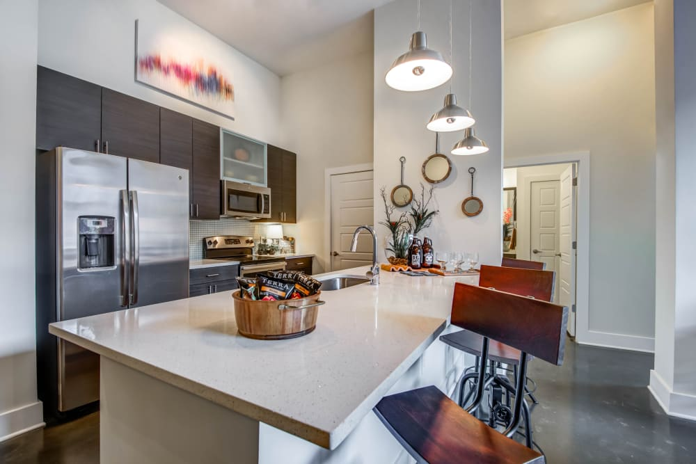 Luxury kitchen model at Mercury NoDa in Charlotte, North Carolina