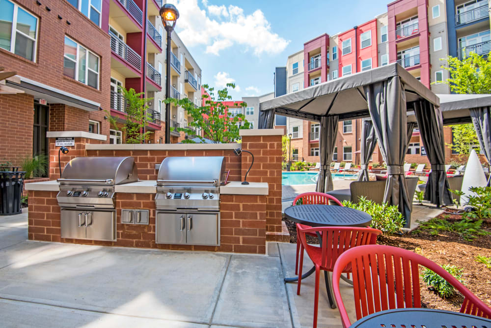 Outdoor barbecue set up at Mercury NoDa in Charlotte, North Carolina