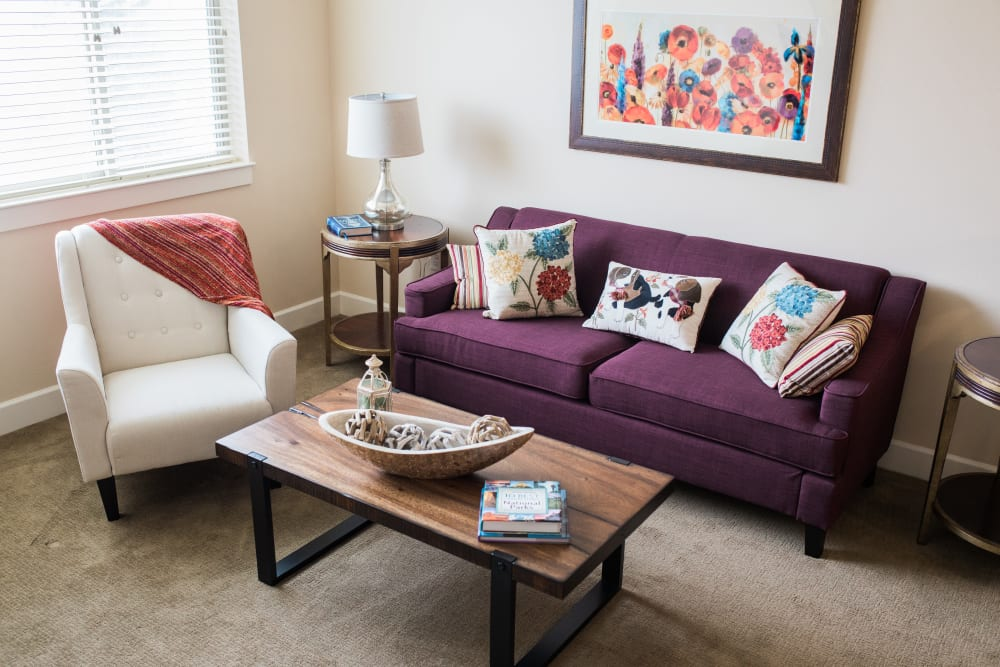 An apartment living room at Touchmark on Saddle Drive in Helena, Montana