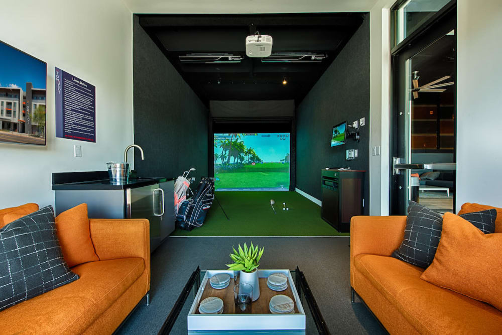 Virtual golf in game room at The TOMSCOT in Scottsdale, Arizona