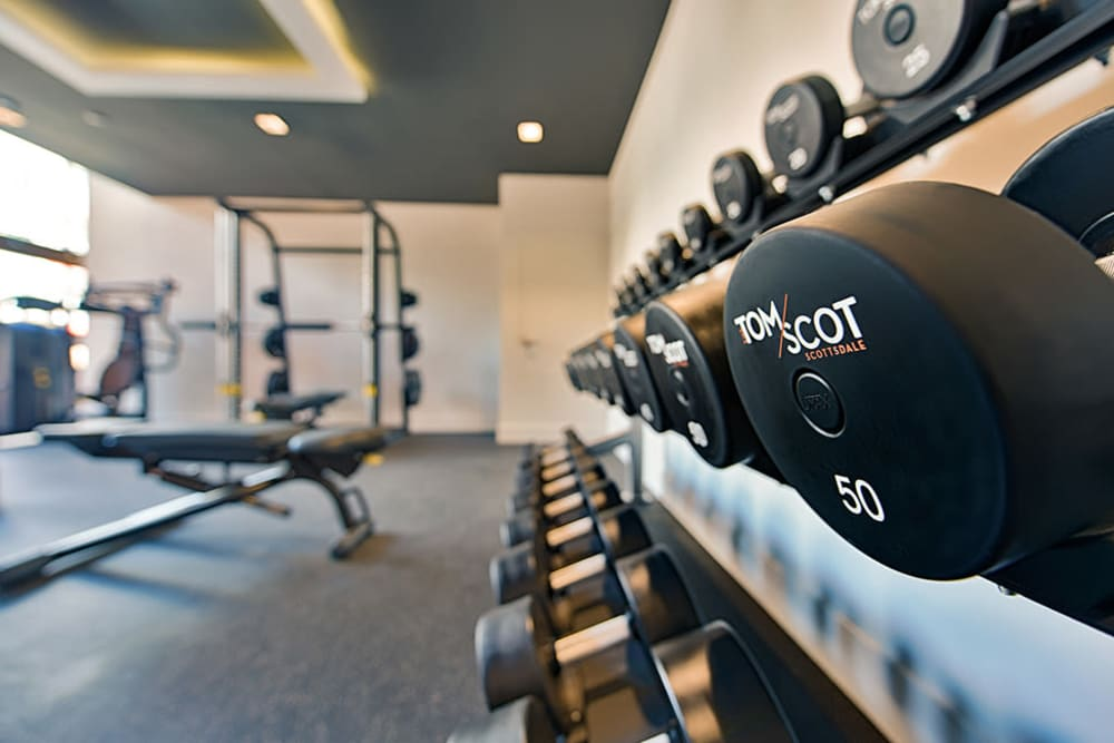 Weights in fitness center at The TOMSCOT in Scottsdale, Arizona