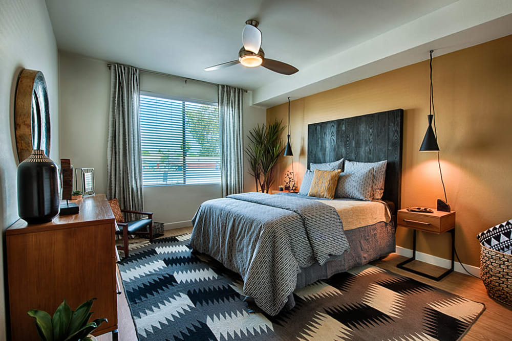 Bedroom with mood lighting at The TOMSCOT in Scottsdale, Arizona