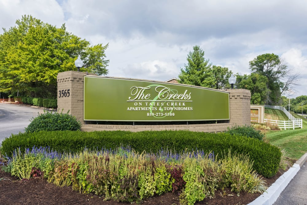 Front sign at The Creeks On Tates Creek in Lexington, Kentucky