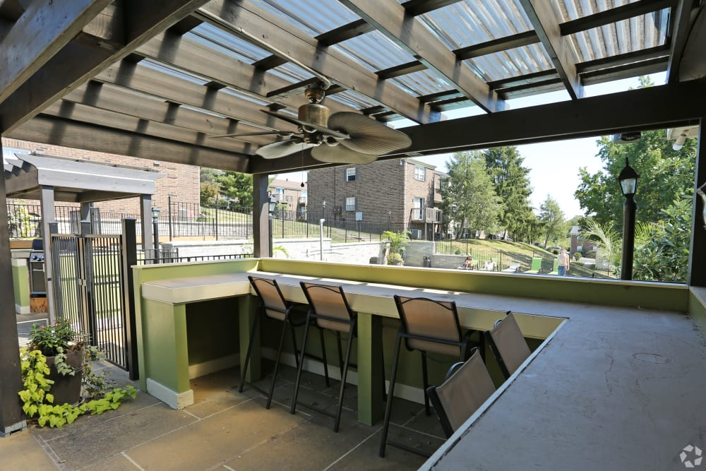 Shaded patio at The Creeks On Tates Creek in Lexington, Kentucky