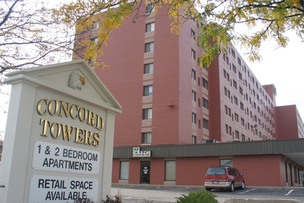 Memorial sign at Concord Towers Apartments in Madison Heights, Michigan