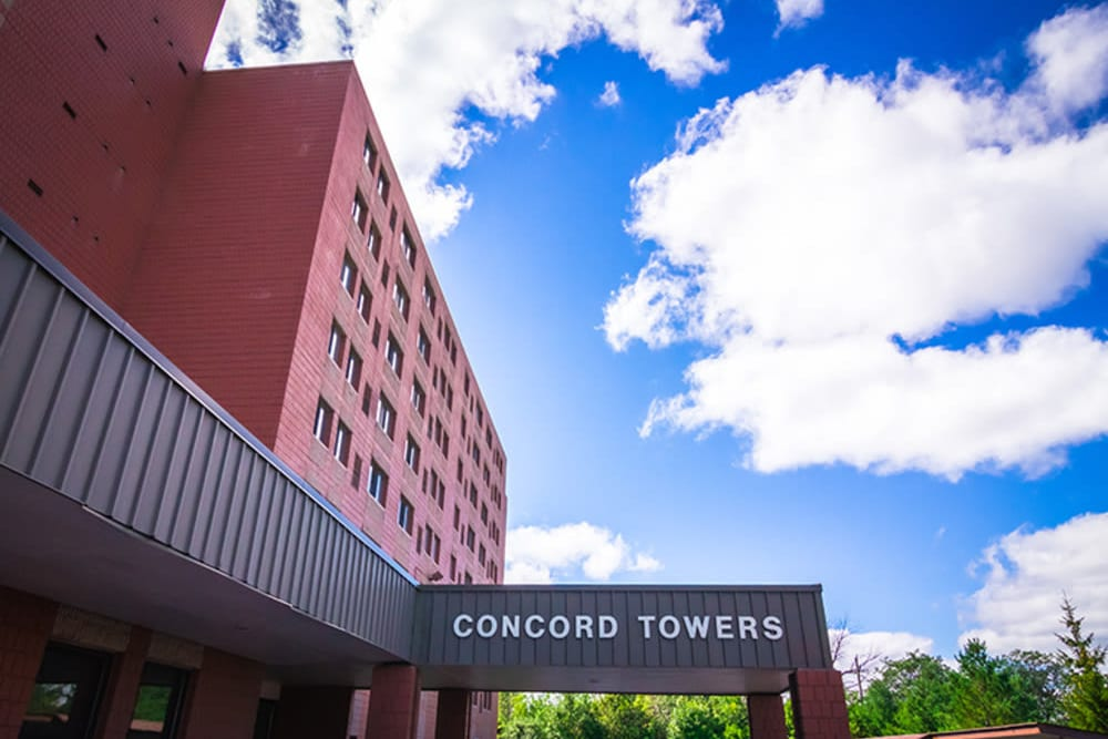 Blue sky over Concord Towers Apartments in Madison Heights, Michigan