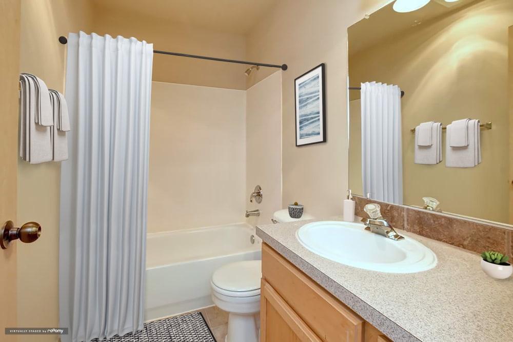 Bathroom At Aravia Apartments In Tacoma WA