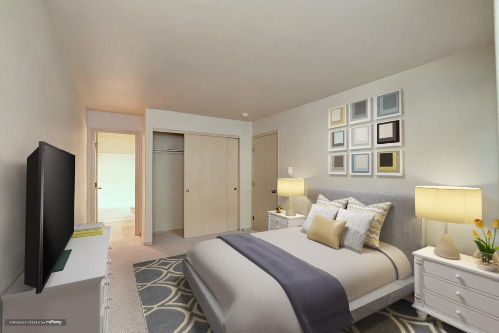 Bedroom At Aravia Apartments In Tacoma WA