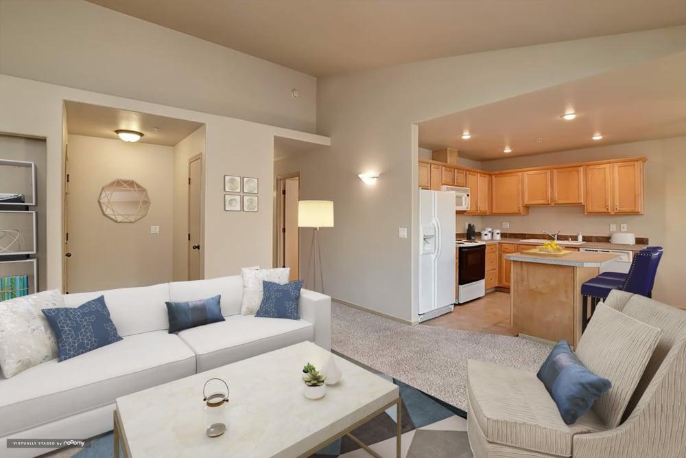 Living Room At Aravia Apartments In Tacoma WA