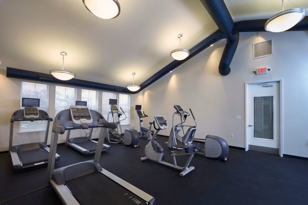 Treadmills in fitness center at President Madison Apartments in Madison Heights, Michigan