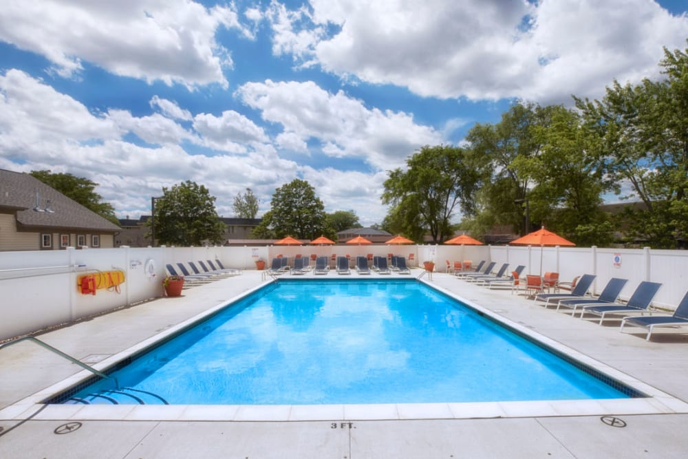 Sparkling swimming pool at President Madison Apartments in Madison Heights, Michigan