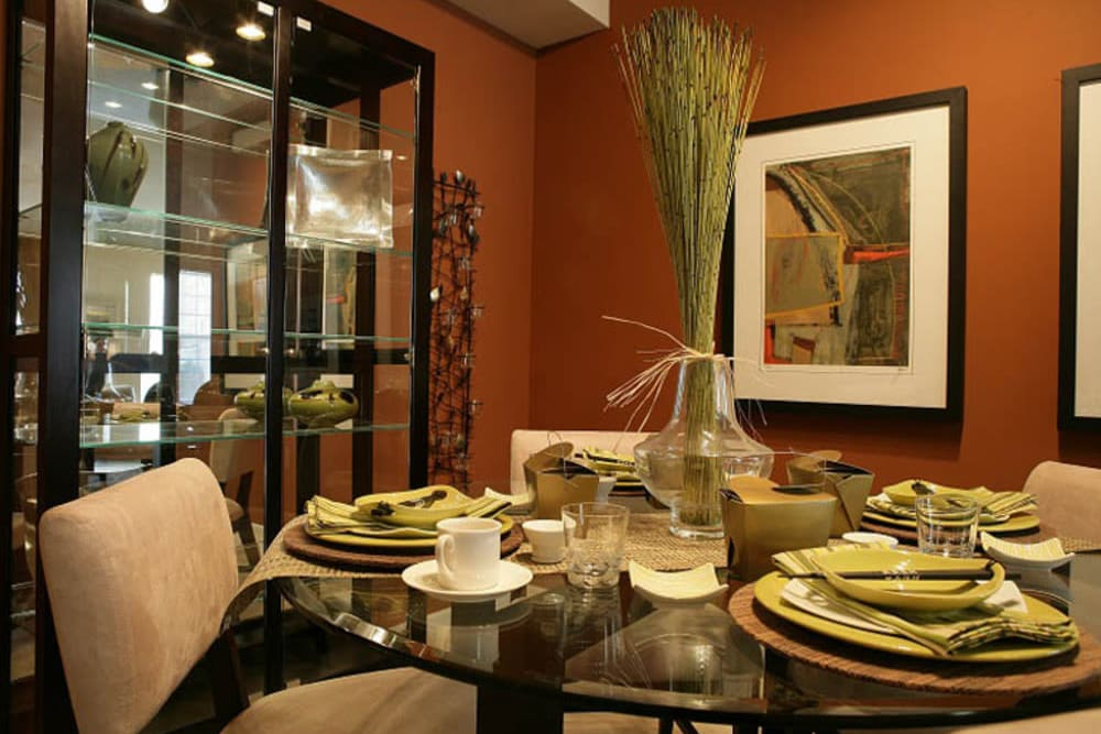 Table set with dishes at President Madison Apartments in Madison Heights, Michigan